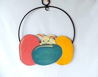 vintage Easter decor/painted on metal/Easter bunny/Easter eggs/home decor/wall decor