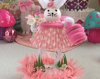 Vintage Inspired Easter SuGaR SwEeT Spring Keepsake BUNNY HOP Diorama Sweet Miss Pinkie