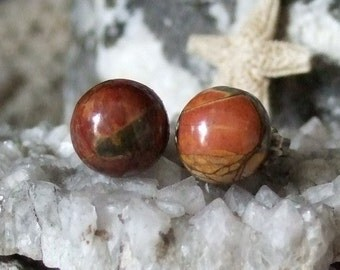 Jasper 10mm Stud Earrings Earings Titanium Posts and Clutches Hypo Allergenic Made in Newfoundland