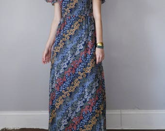 70s dress / floral maxi ruffle off shoulder print boho summer festival (xs - s)