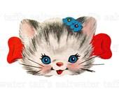 Large 8 inch Vintage Kitty Head PNG No Background / JPG Digital Download DIY vintage nursery frameable cat kitten red bow floating head