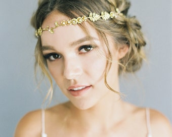 """Romantic floral and branch hair vine with crystals, """"Sydney"""" in gold"""