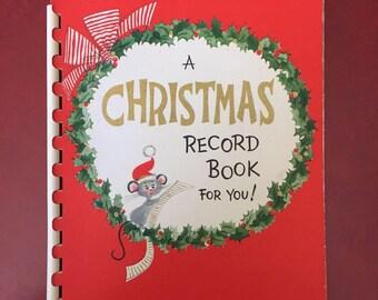 Vintage NOS Hallmark Christmas Record Book for Name & Address - Retro Holiday List