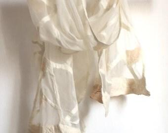 White Felted Silk Chiffon scarf/ Geometric scarf/ Felted Scarves/ Winter accessory white/ Transitional scarf Wedding Silk Shawl Bridal shawl