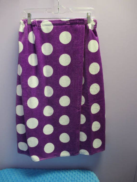 Spa Wrap Personalized Embroidered Purple Polka Dot Womens Towel Wrap