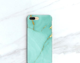 Turquoise Marble iPhone 7, Plus Case Teal Stone iPhone 6S Case, Aqua, iPhone 7 Plus Phone Case, SE, 5S, Samsung Galaxy S8 Plus