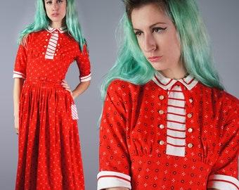 50s Teena Paige Dress 1950s Red Floral Dress Cotton Floral Print Dress Peter Pan Collar