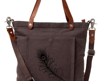 Peacock Feather / Carpe Diem / Custom Art on Canvas Leather Trendy Tote Bag. Alternative Apparel. Custom Hand Painted.