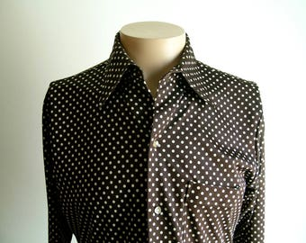 Vintage Mens 70's Brown and White Polka-Dot Shirt