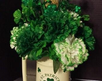 St. Patrick's Day Shamrock Beer Stein  Silk Floral Arrangement