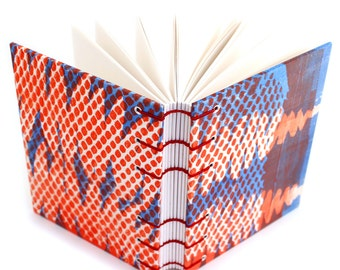 Red and Blue Fern Journal - handmade by Ruth Bleakley