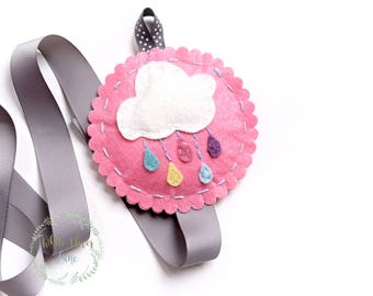 Rainbow Cloud Bow Holder - Raindrops - Felt Nursery Room Decor Pink White Grey - Hair bow holder Pastel