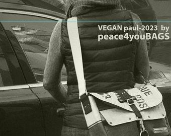 Beige Messenger Bag,  All VEGAN Bag, Crossbody Bag, Cross Body Messenger, Recycled Belgian Military Post Bag / Upcycled in GERMANY-2023VG