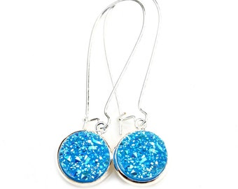Druzy Earrings Bright Sky Blue Specks of Rainbow Sparkle Shimmer Luster Silver Long Dangles High Fashion Style Modern Style by Mei Faith