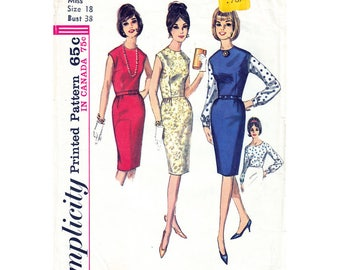 1960s Dress or Jumper & Blouse Pattern Simplicity 5747 Bust 38 Sleeveless Sheath Dress Womens Vintage Sewing Pattern