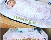 newborn hospital gold glitter name banner with felt flowers