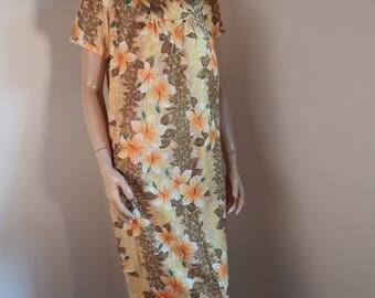 hawaiian muumuu dress, 1960s, aloha dress, all cotton, vintage dress, hawaiiana