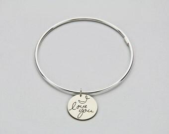 Personalized handwriting bangle bracelet - Memorial signature engraved - Custom silver tube bangle bracelet
