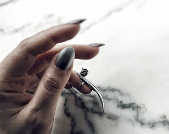 Rose Stiletto Nail Ring, Finger Claw Ring, Coffin Shaped, Sterling Silver