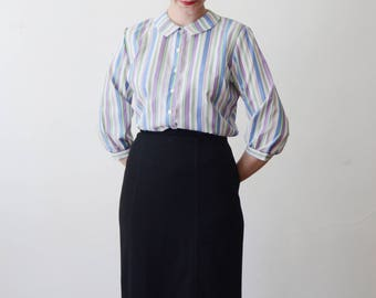 1950s/1960s Pastel Striped Blouse - S