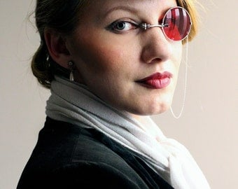 Red Monocle , Silver Monocle , Gothic Monocle , Monocle , Monocles , Gothic , Accessory , Alternative , Handmade , Eyewear , Red , Silver