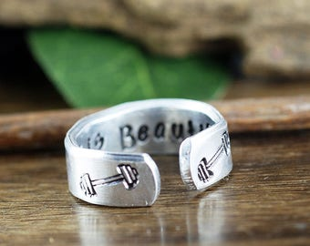 Strong is Beautiful Ring, Inspirational Ring, Motivational Jewelry, Strength Quotes, Dumbell Jewelry, Personalized Ring, Secret Message Ring