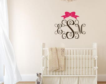 Southern Preppy Three Initial Monogram Wall Decal with Bow - Nursery Decal - Baby Name Decal QB0002