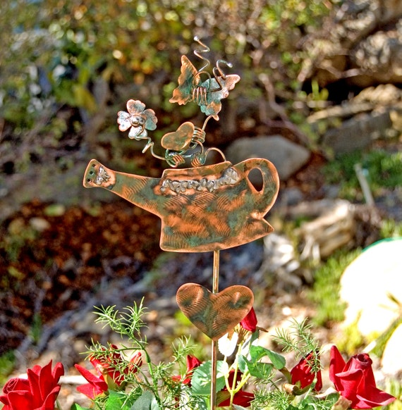 Watering Can Garden Decor Plant Stake Outdoor Copper Metal