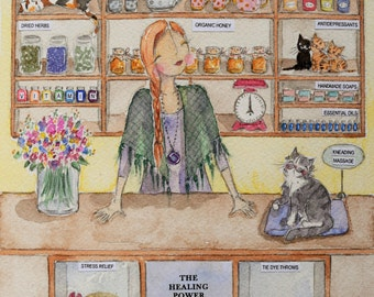 The Happy Apothecary - whimsical A5 greeting card - cat fundraising - shipping incl. in price