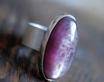 Raw Lepidolite Ring