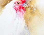 Rooster Original Watercolor Bird Painting Wall Art