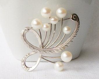 Vintage Sterling Pearl Brooch, Vintage Pearl Jewelry