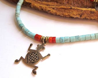 Southwestern Anklet in Turquoise, Coral, and Golden Brass - Petroglyph Frog Anklet