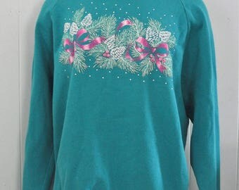80s Glitter Sweatshirt Holidays Xmas Winter Christmas Soft n Comfy Blue Green Aqua Teal Large