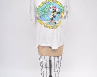 vintage tshirt MICKEY MOUSE minnie SURF and sun oversized 1990s disney shirt large