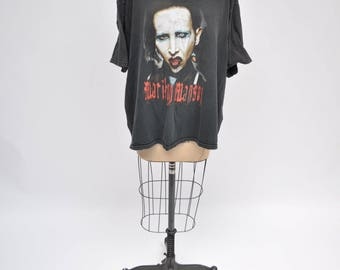 vintage tshirt MARILYN MANSON concert tour SLAYER oversized boyfriend fit t-shirt 1980s extra large xl
