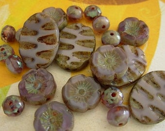 Czech Picasso Beads, Assorted Beads, Flower, Fire Polished (#4ZP)