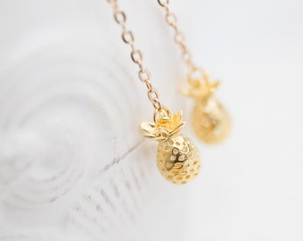 Long Dangle Gold Pineapple Earrings Gold Drop earrings Boho summer tropical jewelry minimal chic