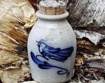 Vintage Rowe Pottery, Slat Glazed Crock with Bird and Cork Top