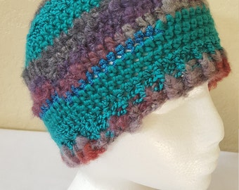 Crochet Striped Beanie / Hat/ Cap/ Teal And Purples With Blue Shimmer/ Adult/ Womens Crochet Skull Cap/ Handmade Winter Accessories