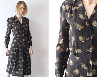 40s style leaf print dress. 70s midi dress. novelty print dress - xs, small