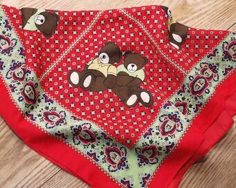 70s 80s novelty scarf. head scarf with teddy bears. red scarf. kawaii scarf
