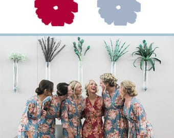 Cranberry and Gray Wedding Color Bridesmaids Robes