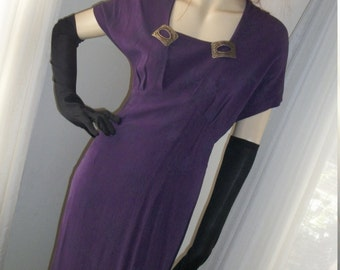 Vintage 1940s Style Carole Little Rayon Day Dress Size M