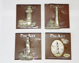 Lighthouse Brooch or Pin, Choice of Four Spoontiques Pin Art Pewter or Porcelain Pin