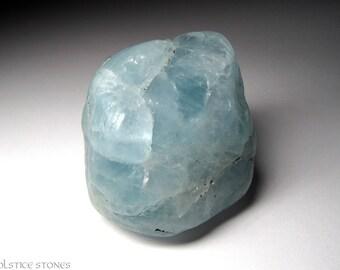 XL Blue Aquamarine Pebble, Large Polished Stone // Throat & Third Eye Chakra // Crystal Healing // Mineral Specimen
