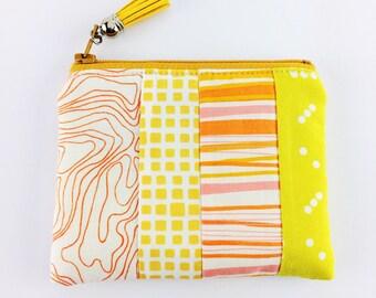 Yellow and orange handmade change purse | Women's wallet | Zipper pouch | Stocking filler | Small gift | Bag organiser