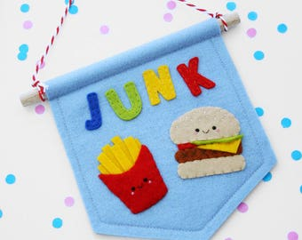 Happy Junk Food Banner, Burger and Fries Felt Flag, Wall Hanging, Foodie Gift
