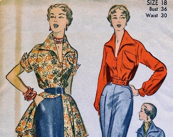 UNCUT * 1950s  Advance Pattern 5636 // GORGEOUS Tapered Pants, Tunic Blouse and Evening Battle Jacket  //  Size 18, bust 36
