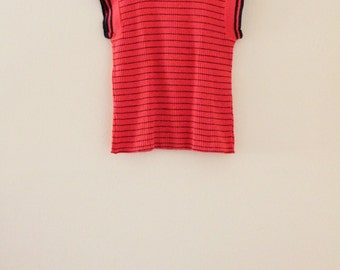 70's Striped Red Orange Knit Top